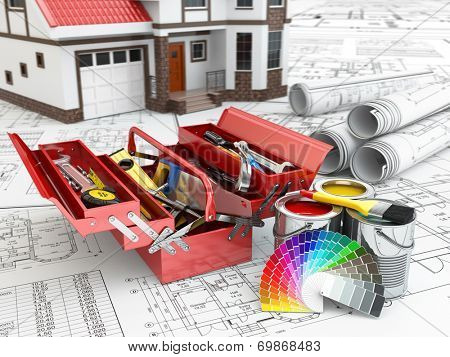 Construction and repair concept. Toolbox, paint cans and house. 3d