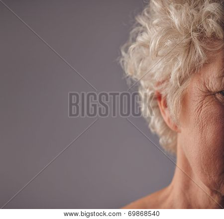 Senior Woman Face With Wrinkled Skin