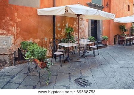 Lucca - outdoor dining nook in Tuscany, Italy