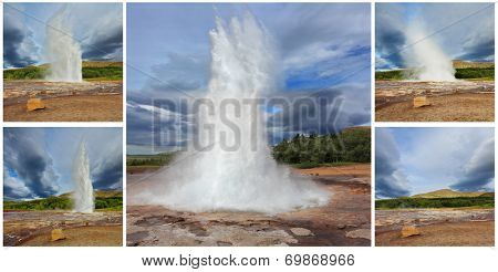 Collage showing different phases of the action of the geyser. Gushing geyser Strokkur. Boiling azure water fumaroles replaced by fountain of hot water and steam