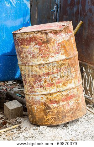 Old And Dirty Oil Barrel Tank