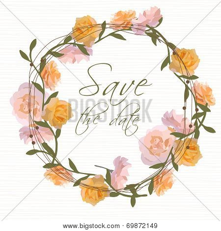 Floral wreath invitation vector illustration