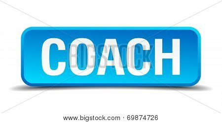 Coach Blue 3D Realistic Square Isolated Button