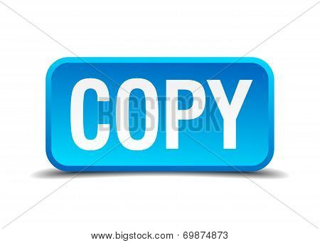 Copy Blue 3D Realistic Square Isolated Button