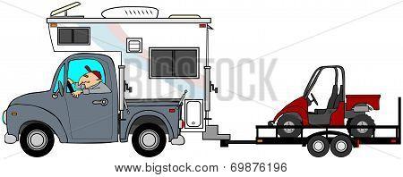 Truck & camper towing a UTV