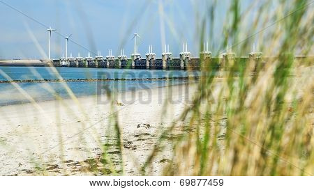 Storm Surge Barrier Oosterschelde Nearby Neeltje Jans In The Netherlands, Delta Works