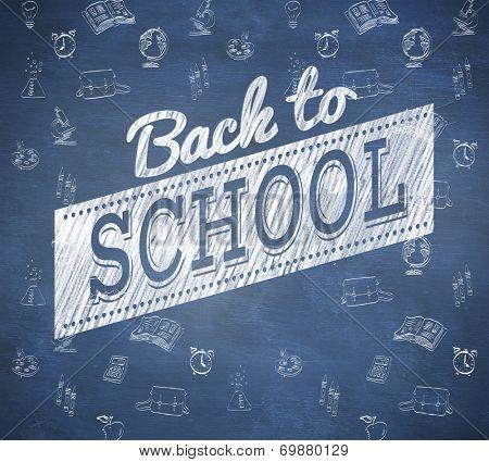 Back to school sale message against blue chalkboard