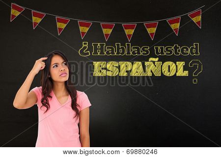 Composite image of pretty brunette thinking against black, Do you speak Spanish?