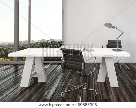 Modern home office interior design with two office chairs on either side of a white desk in front of floor-to-ceiling view windows overlooking a city