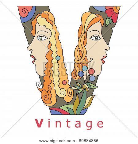 Letter V - Vintage