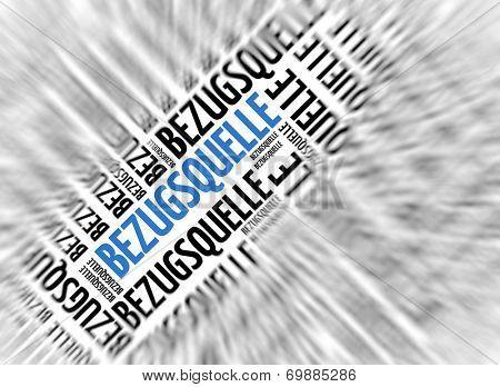 German marketing background - Bezugsquelle (source of supply) - blur and focus