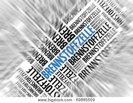 German marketing background - Brennstoffzelle (Fuel Cell) - blur and focus