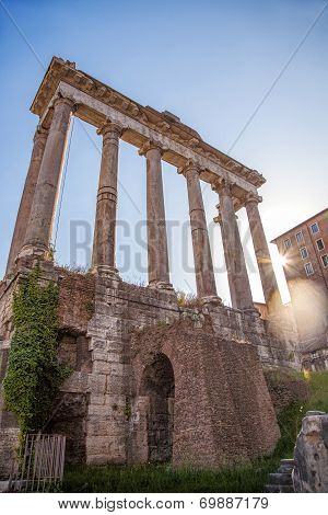Famous beautiful Roman ruins in Rome, Italy