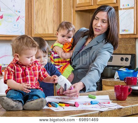 Mother Plays With Children