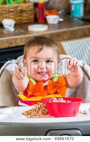 Baby Girl Eats Breakfast