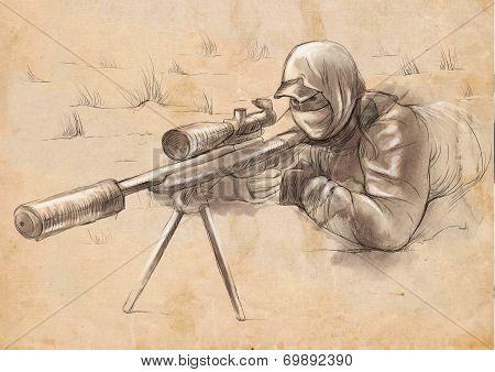 Shooter (sniper) - An Hand Drawn Illustration