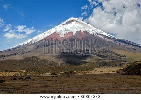 View of the majestic Cotopaxi volcano