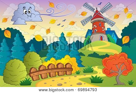 Autumn landscape windmill and cloud - eps10 vector illustration.
