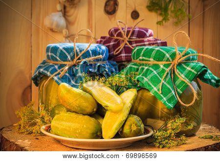 Jars Pickled Gherkins Wooden Table