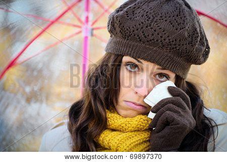 Sad Woman In Autumn With Umbrella