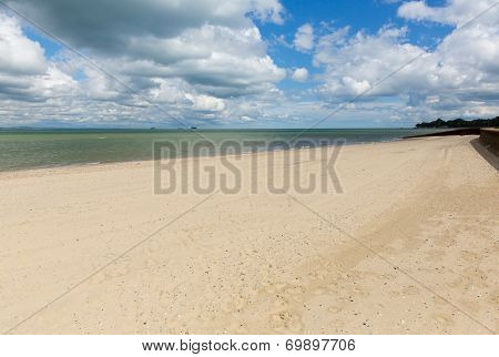Sandy beach Ryde Isle of Wight with blue sky and sunshine in summer in this tourist town