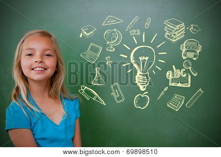 Composite image of education doodles with cute pupil smiling