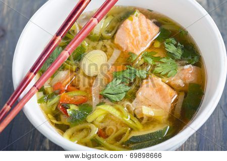 Miso Soup With Salmon And Leek.