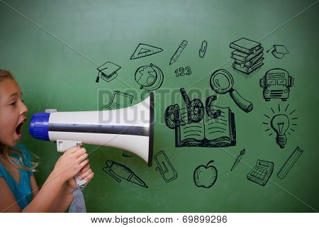 Education doodles with cute pupil shouting through megaphone
