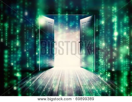Doors opening to reveal beautiful sky against lines of green blurred letters falling