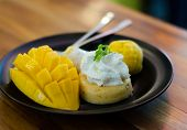 pic of mango  - Thai traditional dessert mango mango pudding mango ice cream with sticky rice - JPG