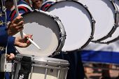 image of parade  - High school drums at an outdoor parade - JPG