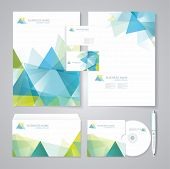 stock photo of honeycomb  - Corporate identity template with blue and green geometric elements - JPG