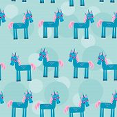 picture of fairy tail  - pattern with funny cute unicorn animal on a blue background Vector corn pony mane tale hind horse - JPG