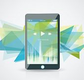 foto of smart grid  - Perfectly detailed modern smart phone with geometric background - JPG