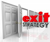 image of leaving  - Exit Strategy 3d words going out an open door exiting - JPG
