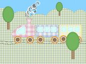 stock photo of kiddie  - Fun kiddie train in application of fabric - JPG