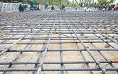 image of reinforcing  - reinforce iron cage net for built building floor in construction site