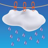 picture of hurricane clips  - colorful illustration with gray clouds on a blue sky background - JPG
