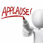 picture of applause  - applause written by a man over white background - JPG