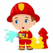 image of firehose  - Cute cartoon illustration of a firefighter isolated on white - JPG