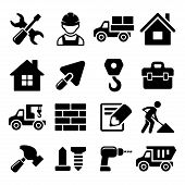 pic of skid-steer  - Construction Icons Set on White Background - JPG