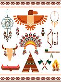 stock photo of wigwams  - Aztec and Mayan Indian decorative vector elements - JPG