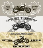 picture of olden days  - retro motorcycle banners vector illustration in vintage style - JPG