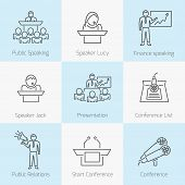 foto of public speaking  - Set of public speaking presenation business conference flat line icons in gray color on squares - JPG