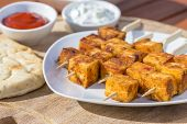 stock photo of paneer  - Paneer Tikka Kebab  - JPG