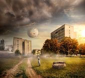 stock photo of radioactive  - Fantastic landscape of the city after radioactive pollution - JPG