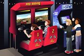 image of arcade  - A vector illustration of boys playing car racing in an arcade - JPG