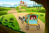 stock photo of wagon  - A vector illustration of prince and princess riding a wagon pulled by a horse going to a castle - JPG