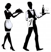 stock photo of waiter  - silhouette of the waitress and the waiter at restaurant - JPG