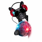 foto of jukebox  - dj dog listening to music behind an empty and blank banner with a fancy disco ball and lights - JPG